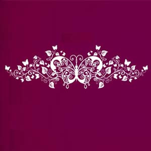 Modern Graphic Inspired Butterfly and Leaves Wall Decal