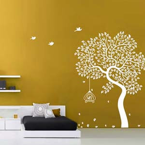 Nature Inspired Autumn Tree and Birds Wall Decal