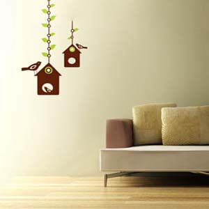 Nature Inspired Hanging Bird House Wall Decal