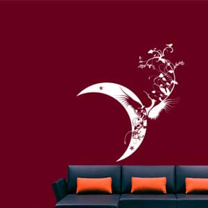 Modern Graphic Inspired Crescent Moon Wall Decal