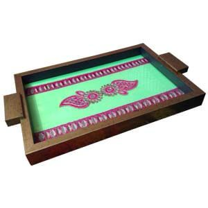 Wooden Tray and Coasters Ethnic Embroidery Works-Green