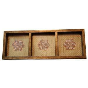 Wooden Dryfruit Tray With Rich Gold Finish and Embroidery Patch-G...