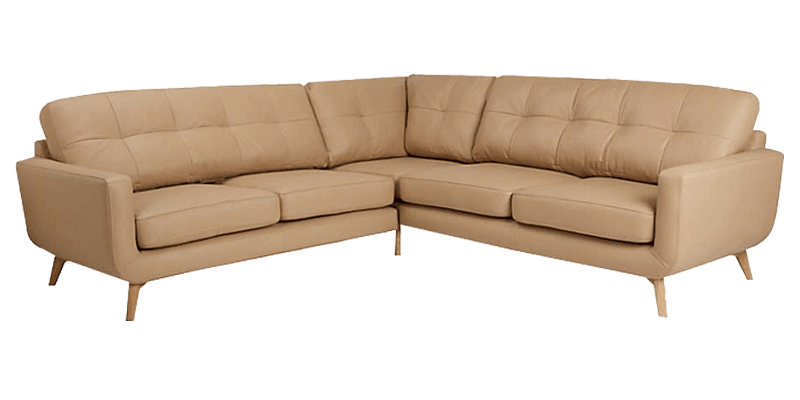 4 Seater Leatherette Sectional Sofa With Tufted Back