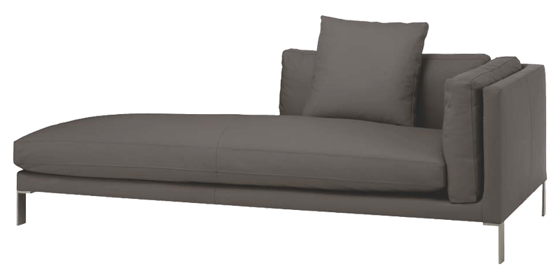 grey modern chaise lounge with and steel legs