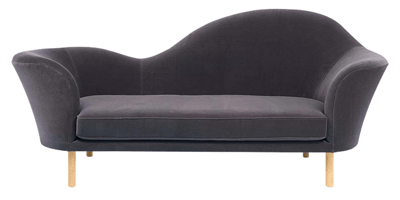 Gray Chaise Lounge Sofa with Straight Wooden Leg...