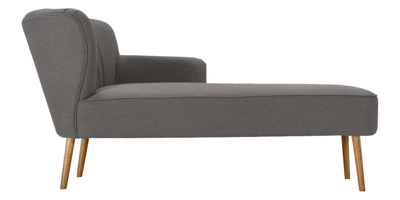 Grey Chaise Sofa with Slanted Back and Legs