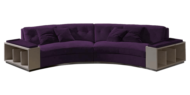 Curved Sectional Sofa with Attached End Tables