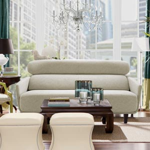 Modern 2 Seater Loveseat Sofa Arched Back Curved Arms White
