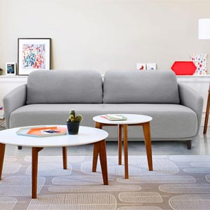 Modern 2 Seater Loveseat Sofa Curved Back Sloped Arms Gray