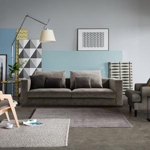 Contemporary 2 Seater Loveseat Sofa Short Back Track Arms Gray