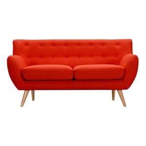 Modern 2 Seater Loveseat Sofa Arched Back Button Tufting Red