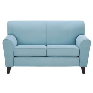 Classic 2 Seater Loveseat Sofa Rounded Back Curved Arms Blue