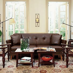 Modern 2 Seater Leatherette Loveseat Sofa Tufted Back Flared Arms...