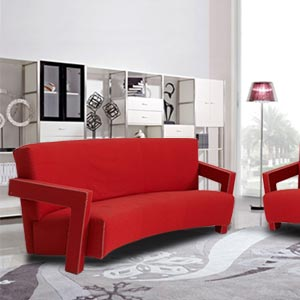 Modern 3 Seater Sofa Arched Back 90 Degree Angled Arms Red
