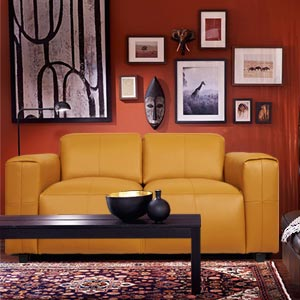Contemporary 2 Seater Leatherette Loveseat Deep Seat Wide Arms Ca...