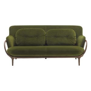 Modern 2 Seater Loveseat Sofa Unibody Frame Flared Arms Olive Gre...