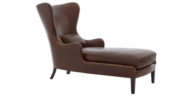 Brown Leatherette Chaise Lounge in Wingback Styl...