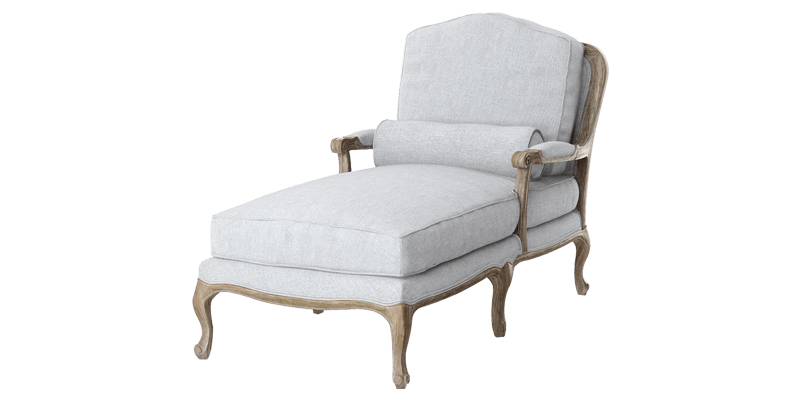 Antique Chaise Lounge with Carved Legs and Piped...