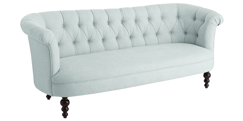 Clic 2 Seater Handmade Fabric Chesterfield Sofa Ornate Legs Frost White