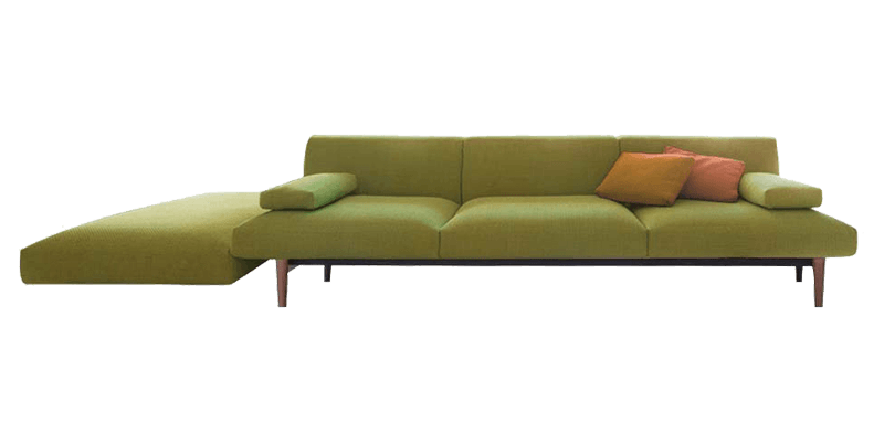 L Shaped Sectional Sofa with Side Floor Lounger
