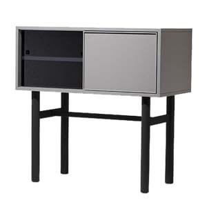Contemporary Freestanding Cabinet with Laminated top and Round Le...