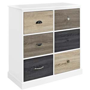 Transitional Six Drawer Cabinet with Multi-coloured Laminate Top