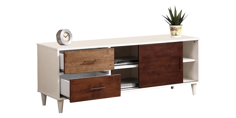 White TV Entertainment Unit With Round Tapered Legs