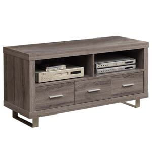 3 Drawer TV Cabinet in Grey with Square Legs