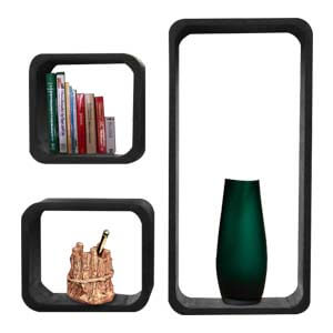 Modern Rectangular Compact Wall shelf with Three Open Storages