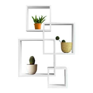 Contemporary Wooden Floating Square Shelves