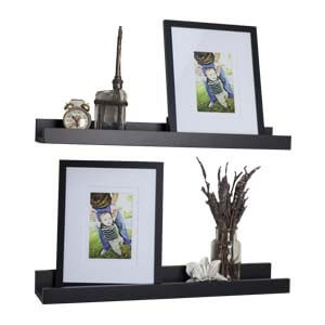 Modern Styled Laminated Wall Shelf with Two Shelves