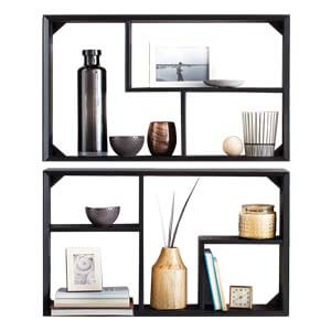 Modern Styled Compact Profile Wall shelf with Multiple Open and D...