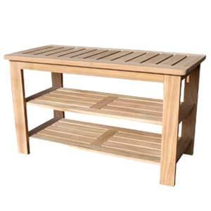 Transitional Style Shoe Rack in Bench Style with Slatted Seat