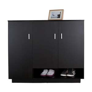 Contemporary Cabinet Style Shoe Rack with Bottom Open Shelf