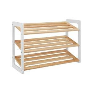 Transitional Style 3-tier Slatted Shoe Rack