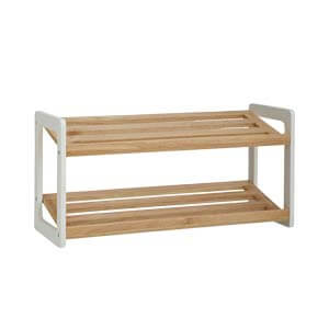 Transitional Style 2-tier Slatted Shoe Rack with Sleigh Legs