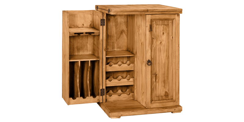 Rustic Bar Cabinet With Multi Storage And Flip Out Tops