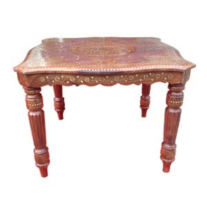 Classic Sheesham Square Coffee Table with Beveled Edge and Inlaid...