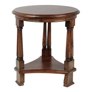 Classic Round End Table with Orante Legs and Mahogany Finish