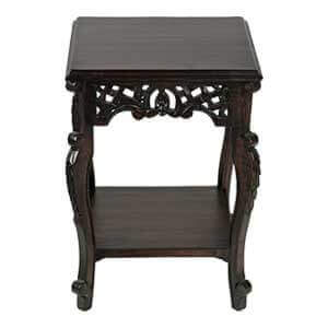 Classic Square End Table with Hand Carvings and Bottom Storage
