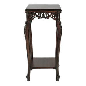Classic Towering End Table with Carved Designs