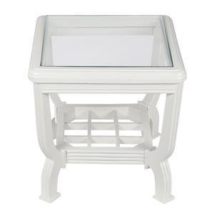 Transitional Square Coffee Table in White with Storage
